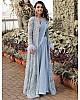 Sky blue georgette indowestern saree with koti