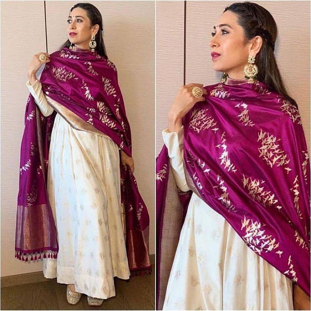 White banglory satin gown with printed dupatta