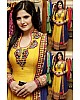 Yellow georgette thread embroidered anarkali suit