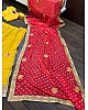 Yellow georgette zari and thread embroidered lehenga choli