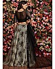 grey heavy orgenza silk printed lehenga choli