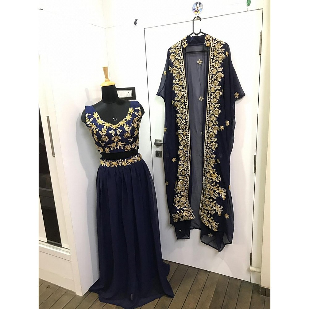 navy blue georgette embroidered indowestern lehenga with shrug