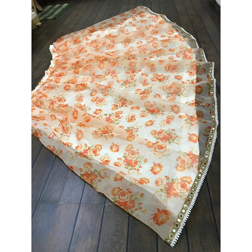 Orange digital printed white ceremonial lehenga