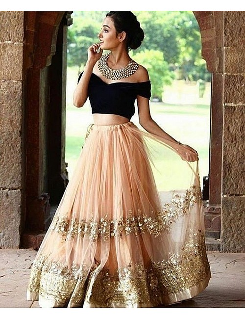 peach net sequence embroidered partywear lehenga