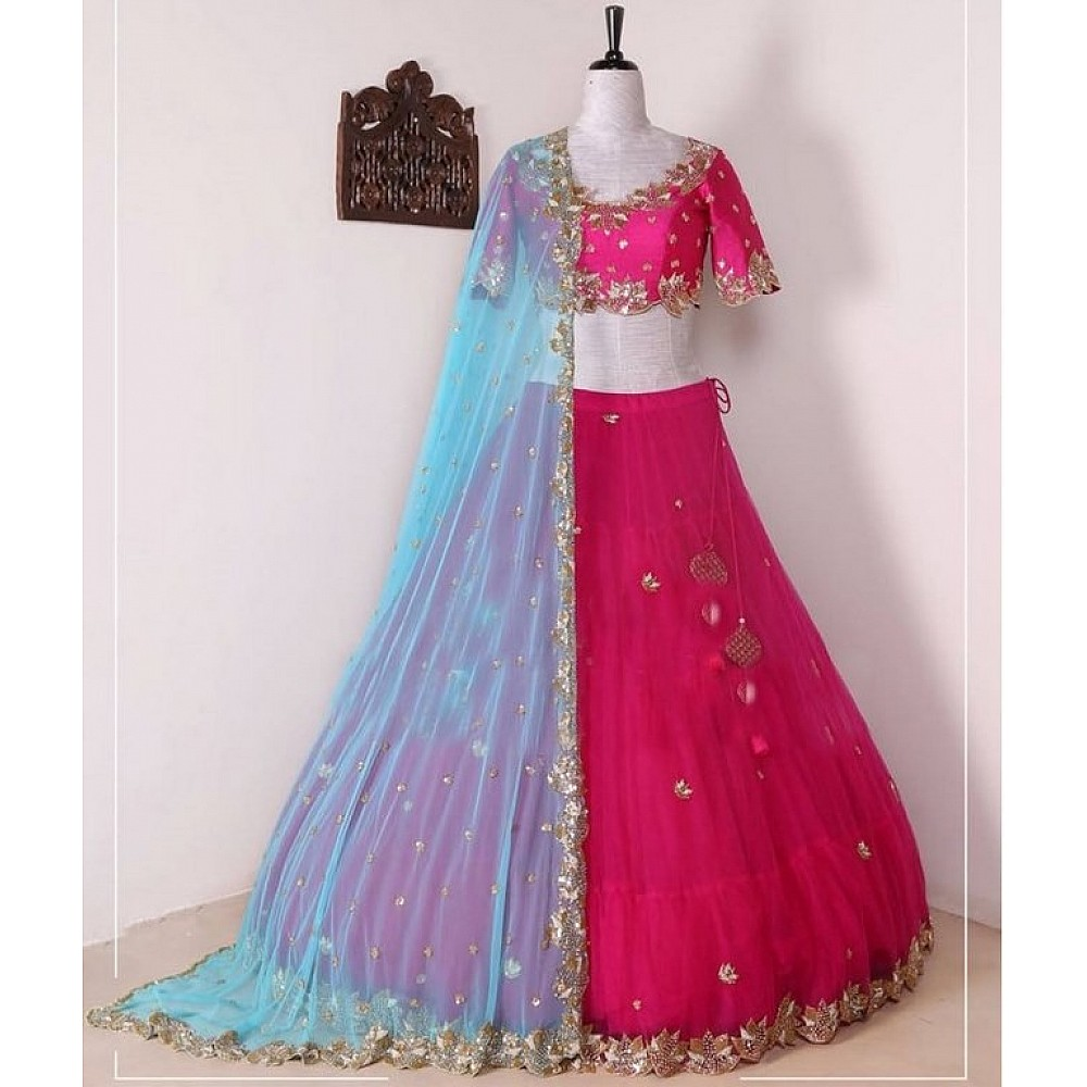 Pink georgette embroidered partywear lehenga