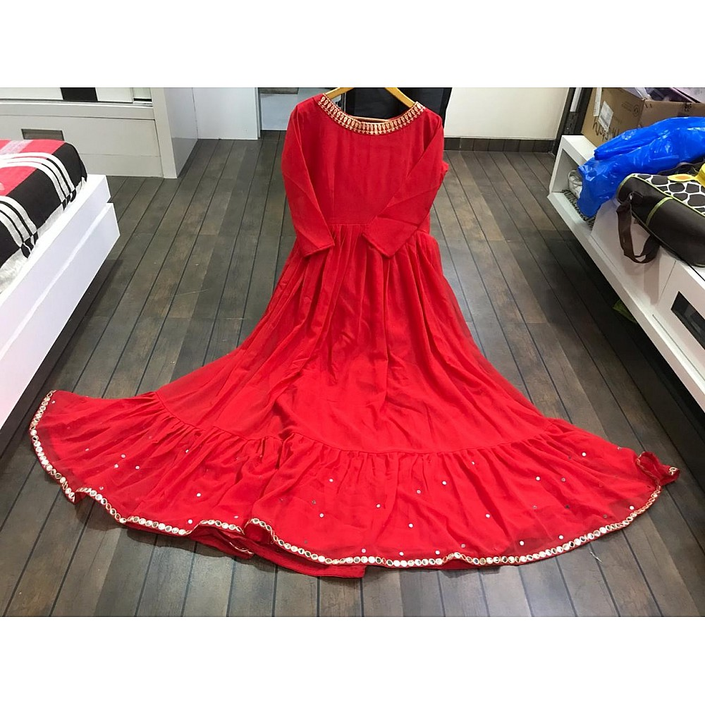 Red georgette beautiful embroidered partywear anarkali suit