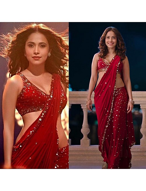 red georgette bollywood style sequence worked partywear saree
