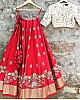 red tapeta silk designer embroidered ceremonial lehenga