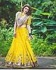 yellow banglori satin embroidered ceremonial lehenga