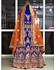 Blue heavy banglori satin silk fancy threadworked bridal lehenga