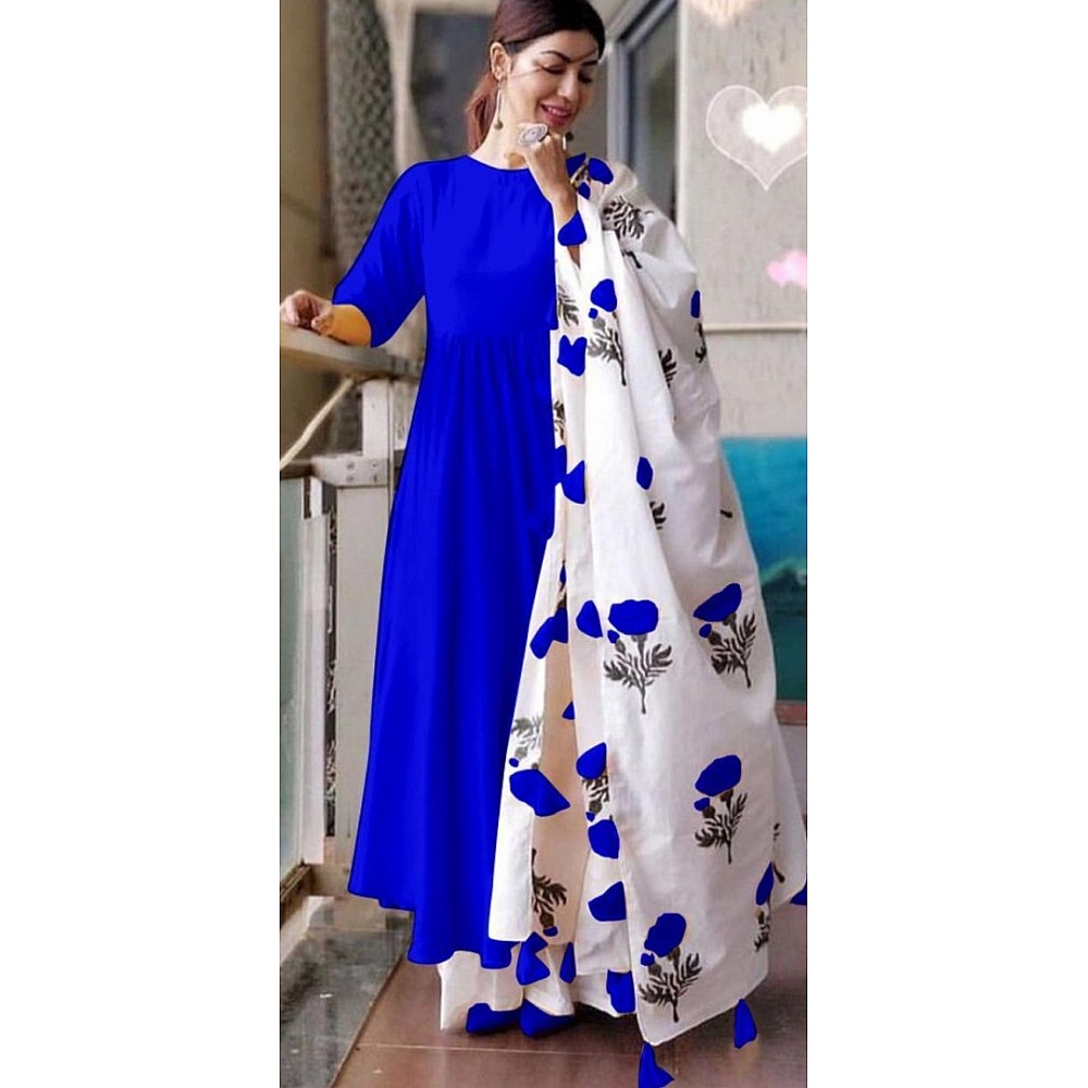 Blue heavy maslin cotton long kurti with printed dupatta