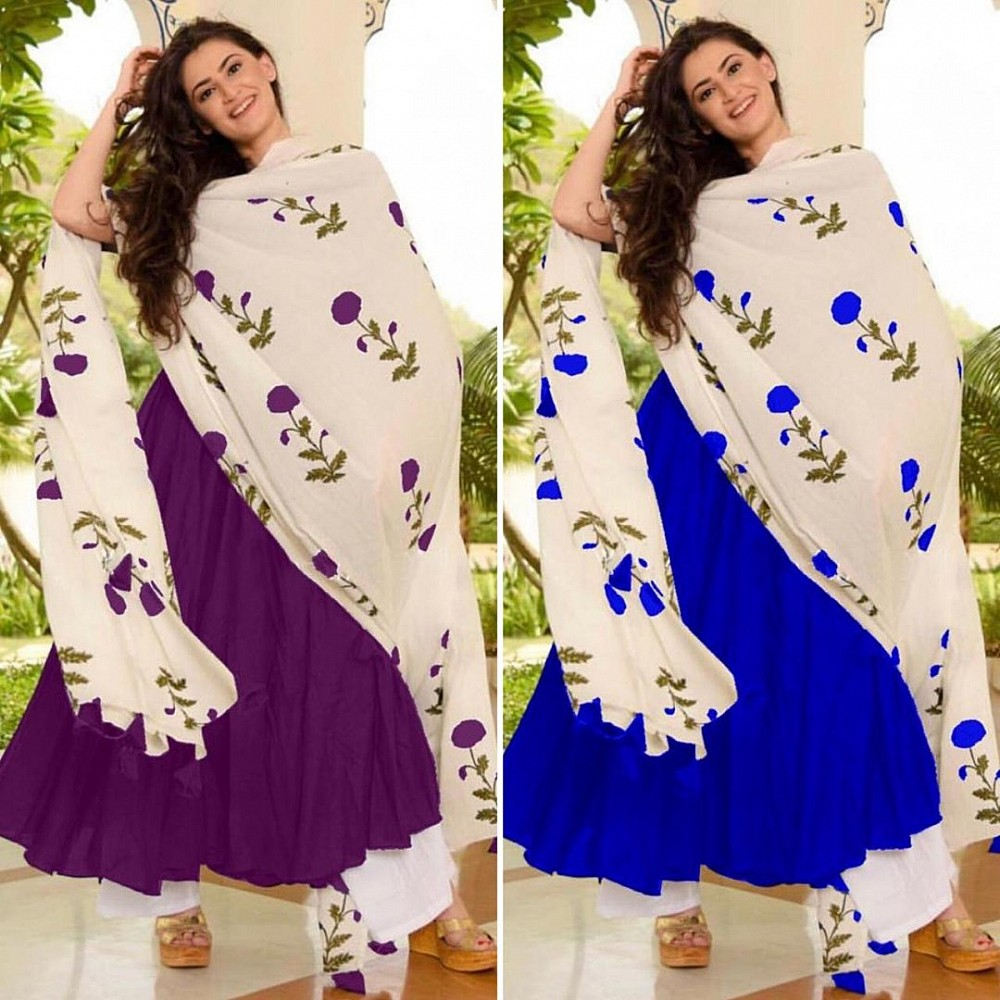 GT Rayon cotton plain plazzo kurti with printed dupatta