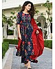 Navy blue camric cotton printed plazzo kurti
