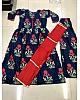 Navy blue camric cotton printed plazzo kurti