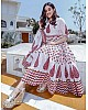 white reyon cotton printed anarkali plazzo kurti