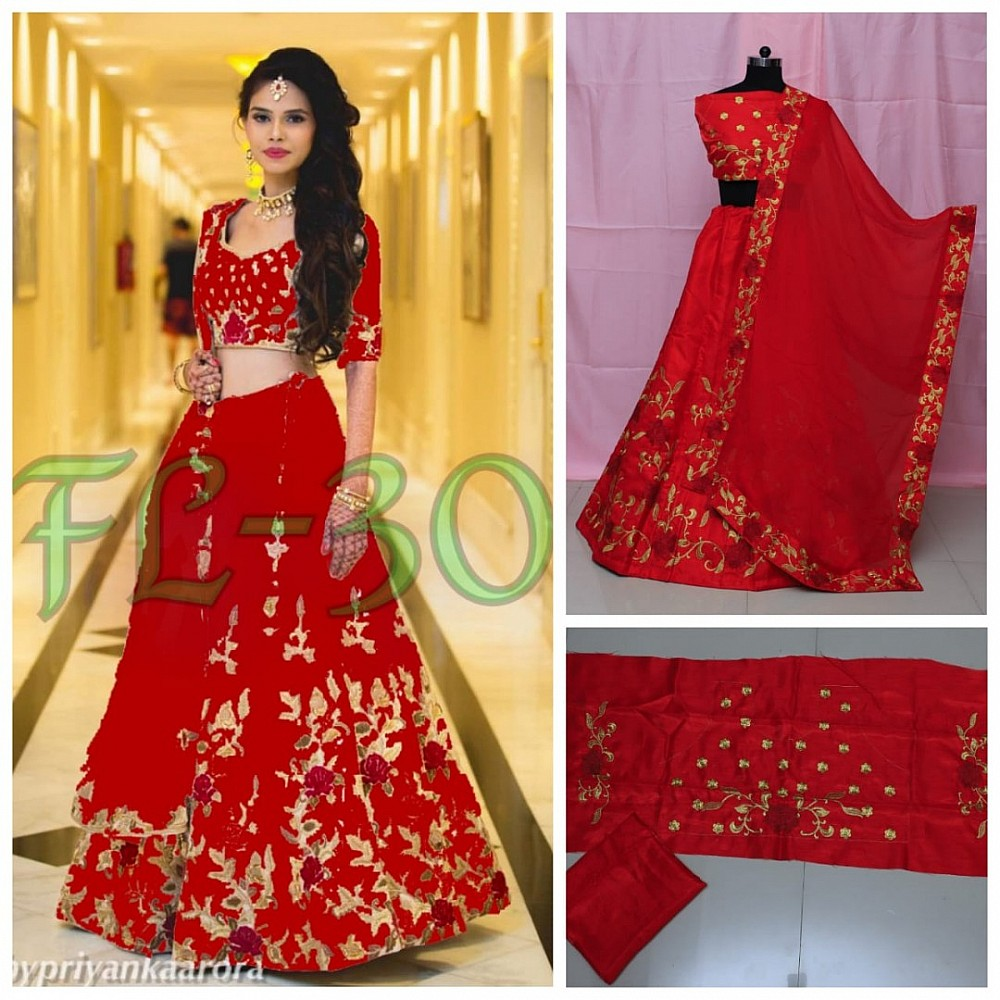 heavy satin banglori silk floral embroidered wedding lehenga