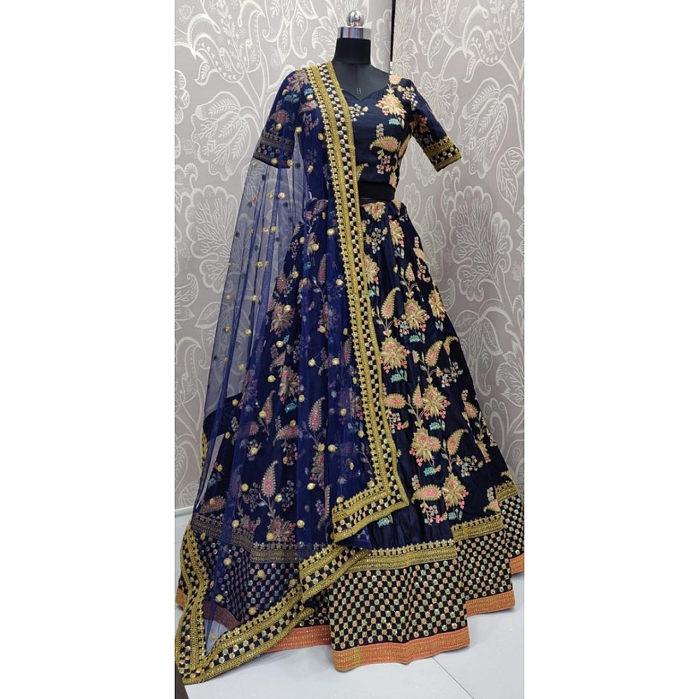 Navy blue heavy tafeta silk designer embroidered bridal lehenga choli