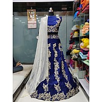 blue bride hara silk embroidered ceremonial lehenga