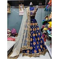 Blue malai satin heavy embroidered wedding lehenga