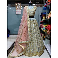 sky mulberry silk heavy embroidered wedding lehenga
