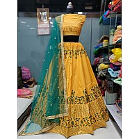 yellow chennai silk embroidered festival wear lehenga choli