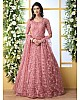 Dusty rose net heavy thread embroidered wedding anarkali gown