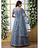 Grey net heavy thread embroidered wedding long anarkali gown