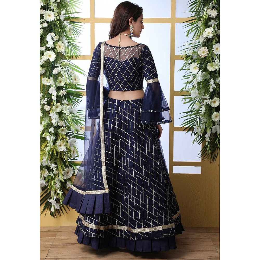Navy blue net thread and sequence embroidered wedding lehenga choli