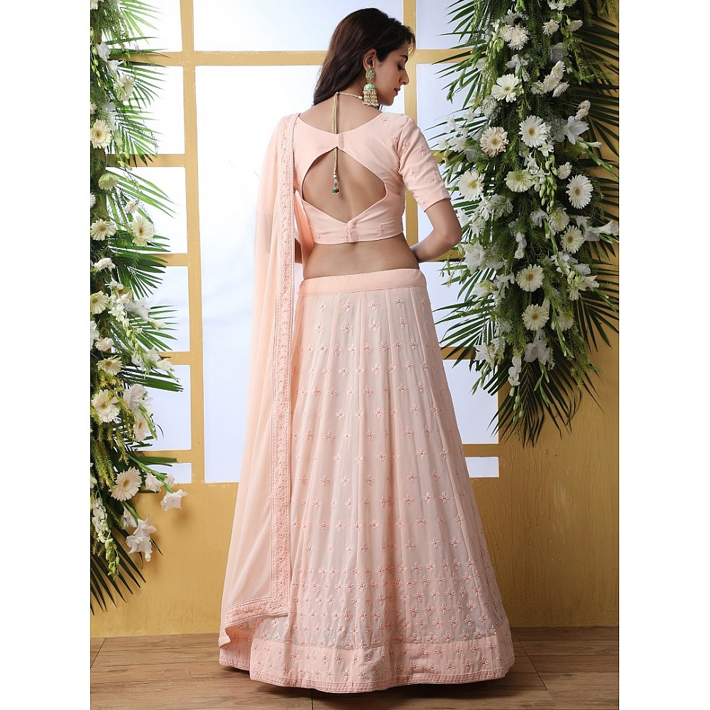 Peach Georgette embroidery work designer lehenga choli