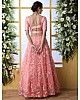 Peach net embroidery work lehenga choli