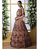 Peach net heavy embroidered wedding long anarkali gown
