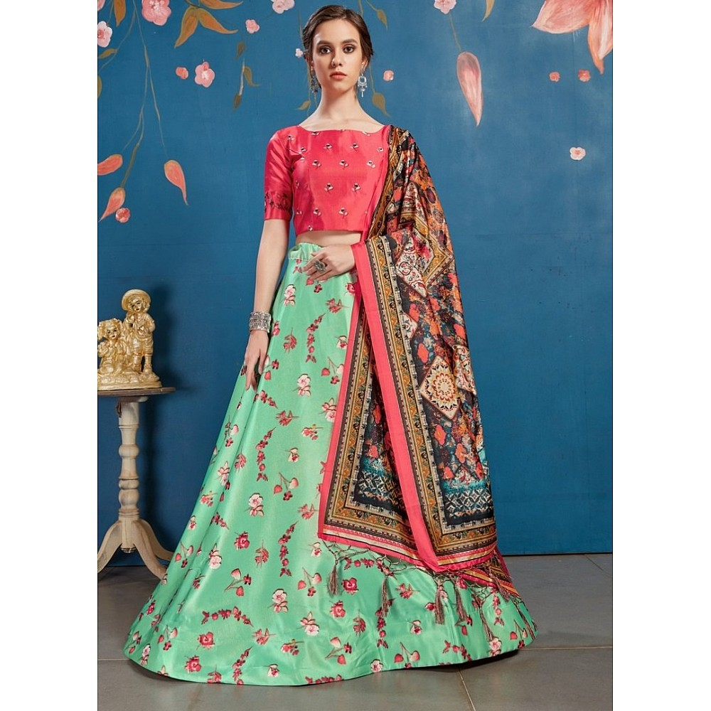 Pistagreen art silk digital printed lehenga choli