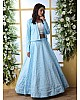 Sky blue art silk lehenga with thread and sequence work koti