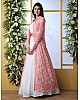 White georgette lehenga with peach thread work koti