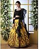 Yellow art silk embroidered crop top lehenga