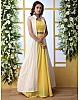 Yellow georgette lehenga with white thread work koti