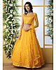 Yellow net thread and sequence embroidered wedding lehenga choli