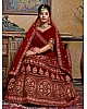 Maroon velvet heavy embroidered bridal lehenga choli