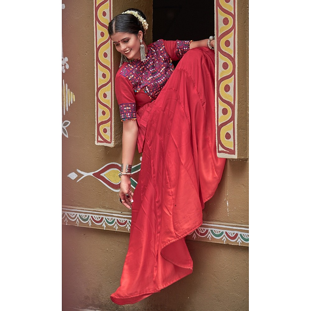 Navratri special maroon soft cotton chaniya choli for garba