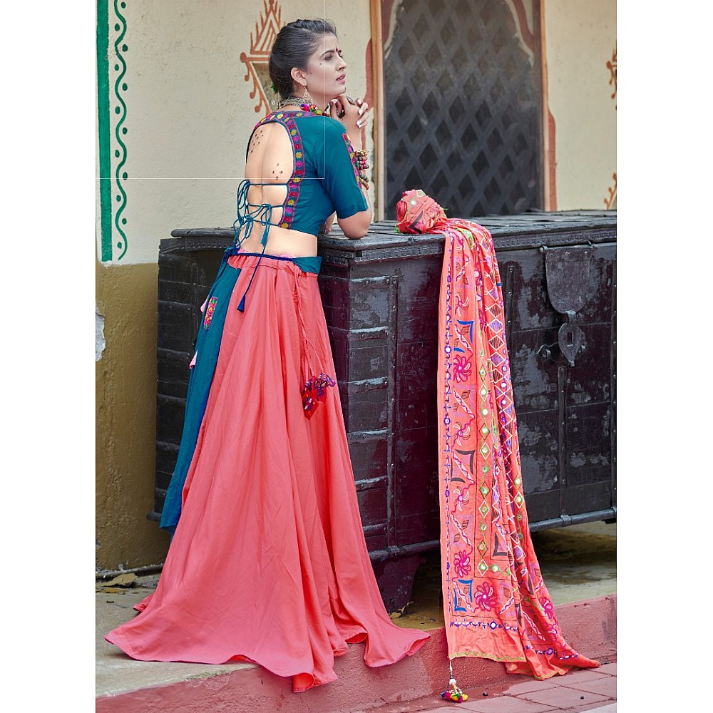 Navratri special teal blue and pink soft cotton chaniya choli for garba