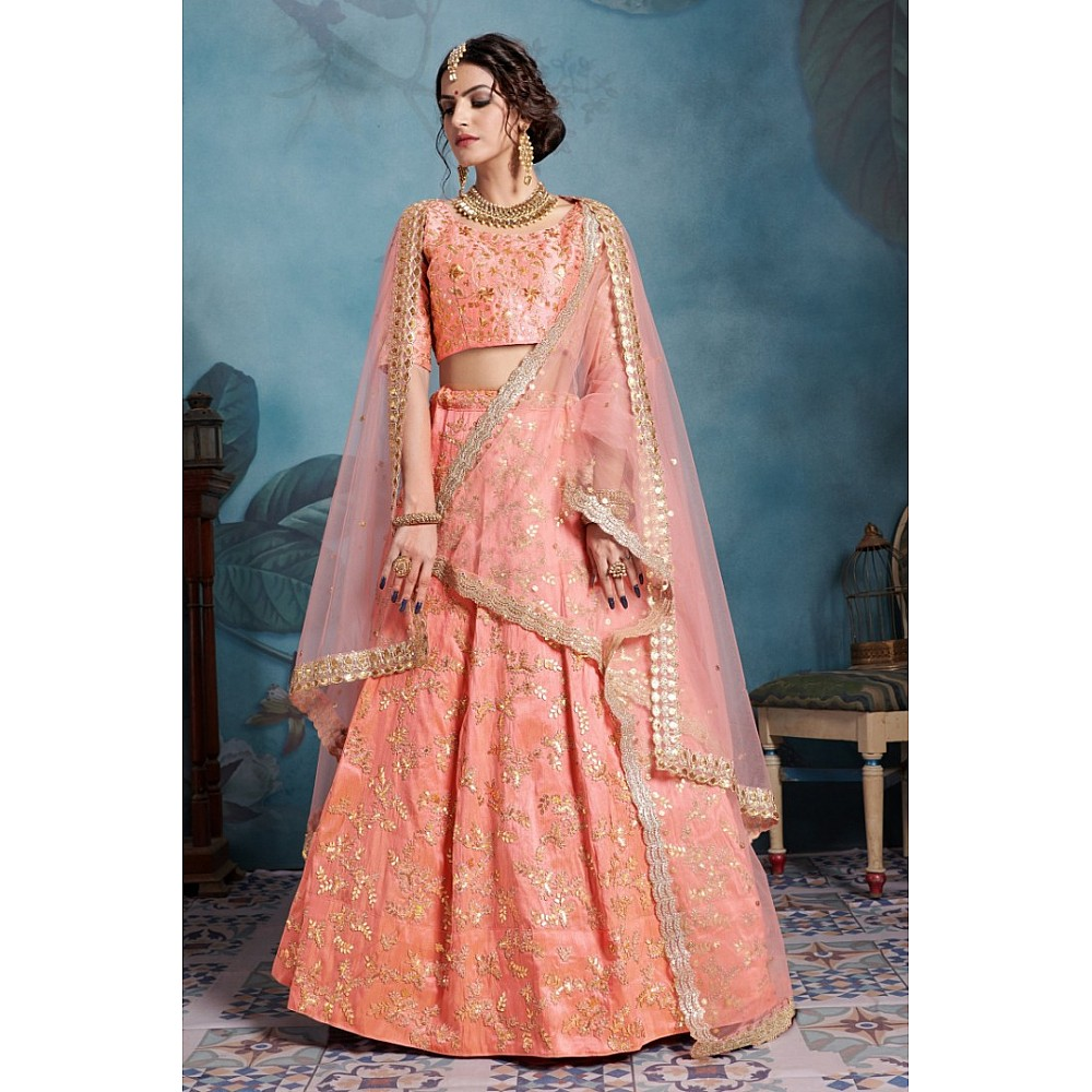 Peach art silk designer embroidered bridal lehenga choli