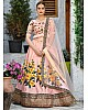 Peach silk flower printed and sequence embroidered designer wedding lehenga choli