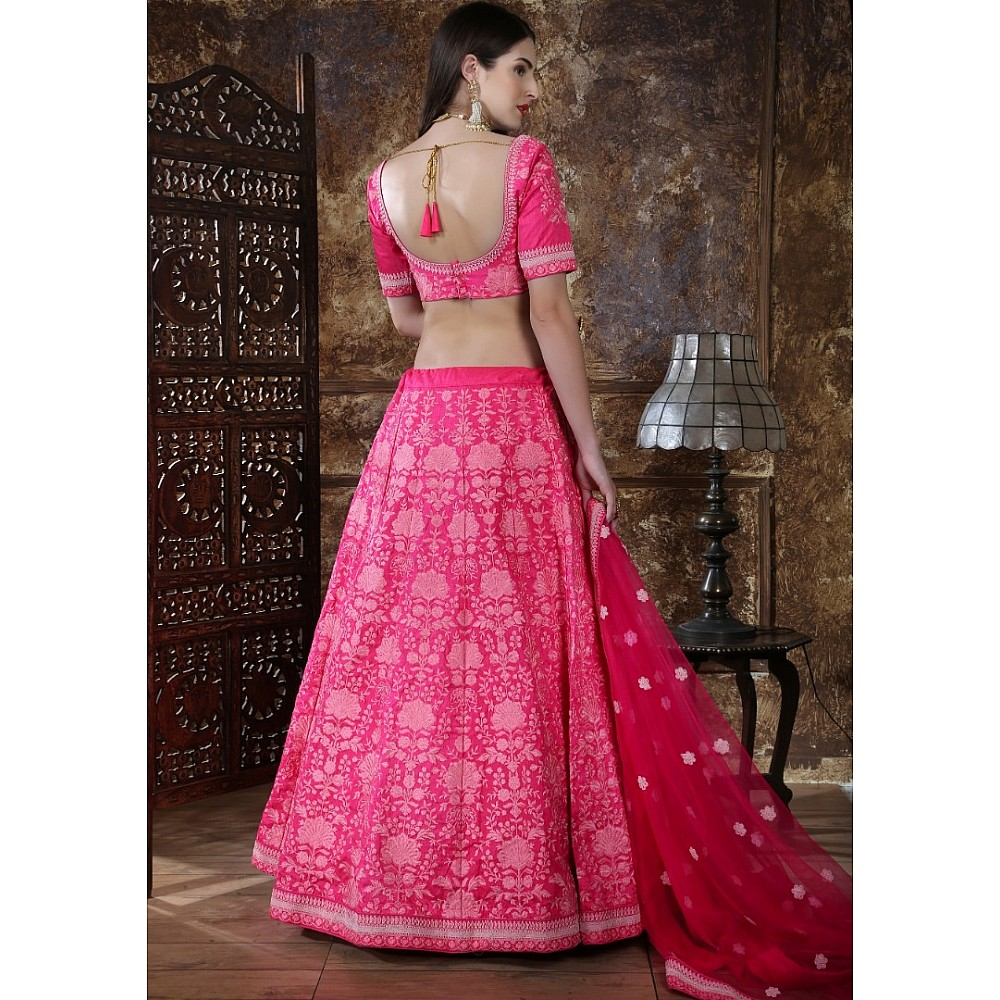 Pink silk heavy embroidered wedding lehenga choli