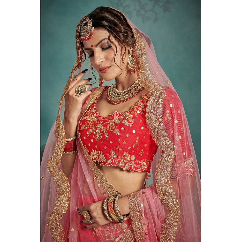 Red art silk designer embroidered bridal lehenga choli