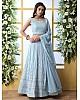 Sky blue georgette heavy embroidered wedding lehenga choli