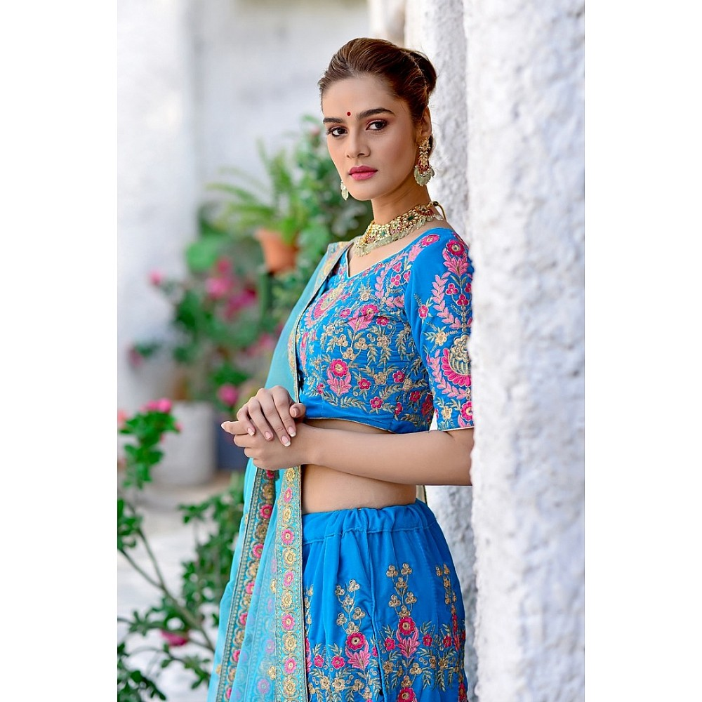Sky blue velvet heavy embroidered wedding lehenga choli