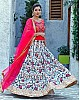 White silk sequence and digital printed stylist wedding lehenga choli