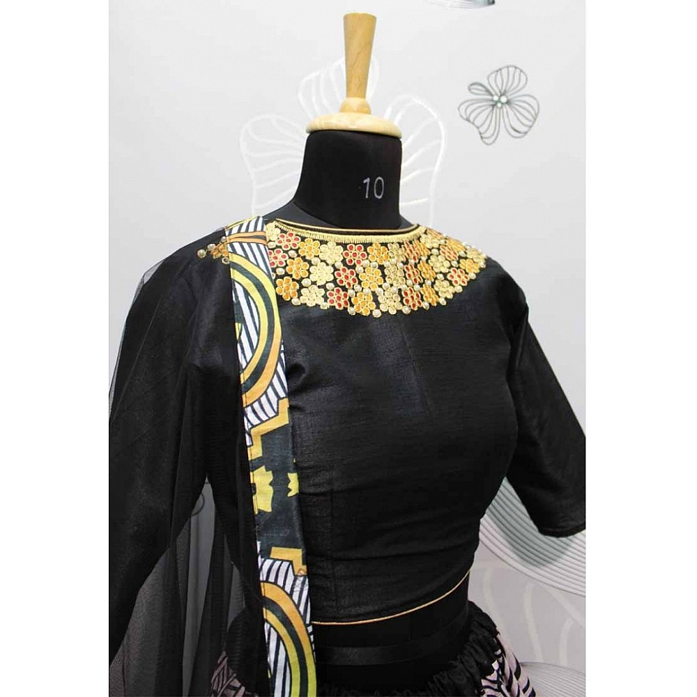black thai silk multi color digital printed navratri festival wear lehenga choli