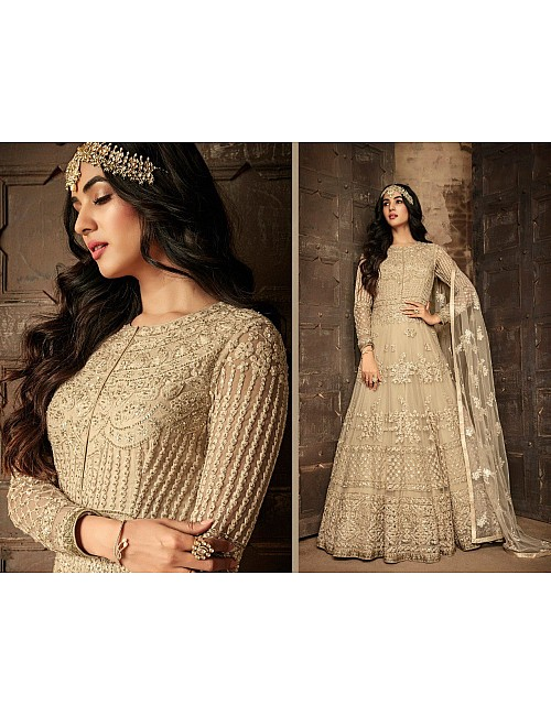 Beige heavy net and embroidered wedding long gown