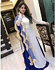 Blue georgette lehenga with white long top lehenga suit